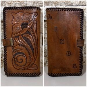 Wallet Leather Hand Tooled Clutch Brown